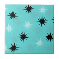 Atomic Turquoise Starburst Ceramic Tile