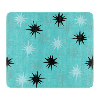 Atomic Turquoise Starbursts Glass Cutting Board