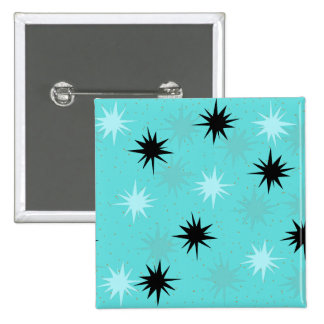 Atomic Turquoise Starbursts Square Button