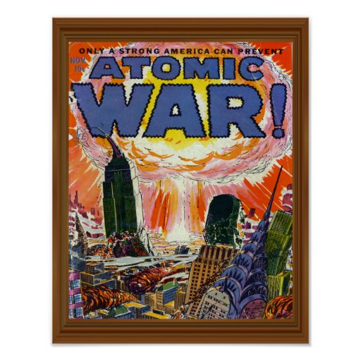 Vintage Book Cover Posters ~ Atomic war vintage comic book cover artwork poster zazzle