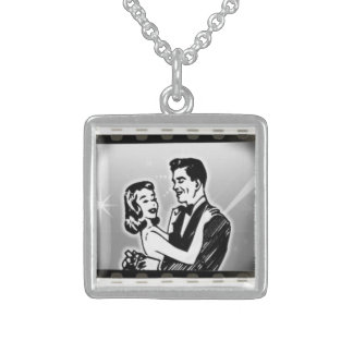 Atomic Weddings Bride & Groom Square Pendant Necklace