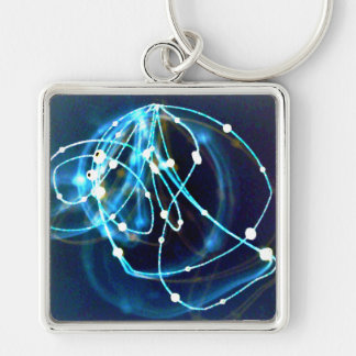 Atomicity 3 Abstract CricketDiane Art Silver-Colored Square Keychain