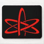 Átomo ateo (rojo en negro) alfombrilla de ratón