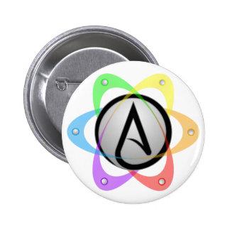 Átomo ateo Symbol.png de LGBT Pin Redondo De 2 Pulgadas