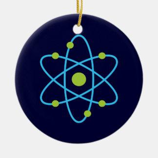 Átomo de la ciencia adorno navideño redondo de cerámica