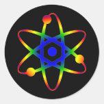 átomo de la ciencia etiquetas redondas