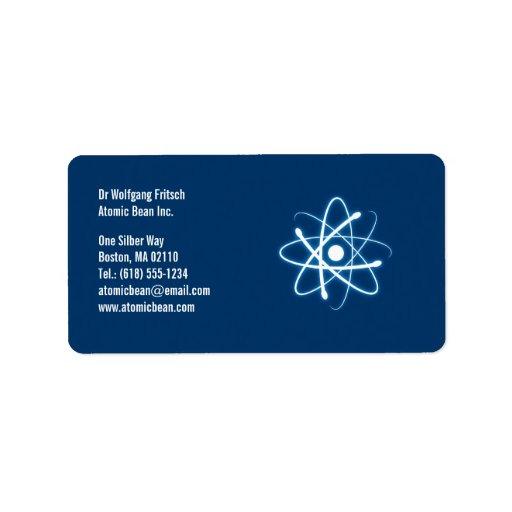 Átomo - etiqueta del científico etiquetas de dirección
