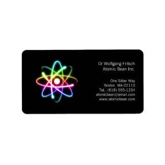 Átomo - etiqueta del científico etiqueta de dirección