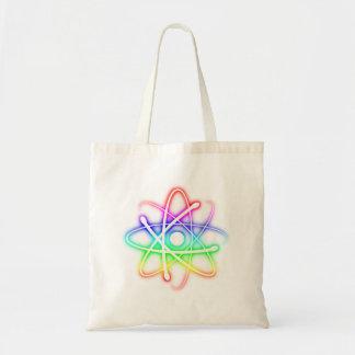 Átomo que brilla intensamente colorido - bolso bolsas lienzo