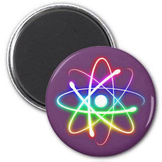 Átomo que brilla intensamente colorido - imán