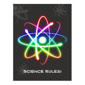 Átomo que brilla intensamente colorido - postal de