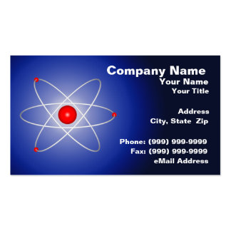 Átomo rojo contra un fondo graduado azul tarjetas de negocios