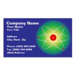 Átomo rojo contra un fondo graduado tarjetas de visita