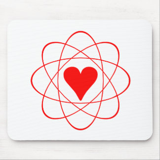 Átomo rojo del corazón tapete de raton