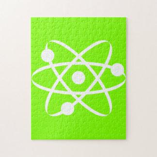 Átomo verde chartreuse de neón rompecabezas con fotos