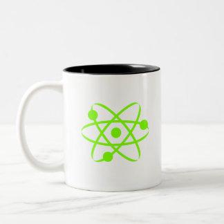 Átomo verde chartreuse, de neón taza de dos tonos