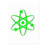 átomo verde claro tarjeta postal
