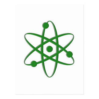 átomo verde oscuro tarjetas postales
