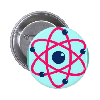 Atoms Matter! Pink & Blue Atom Pinback Button