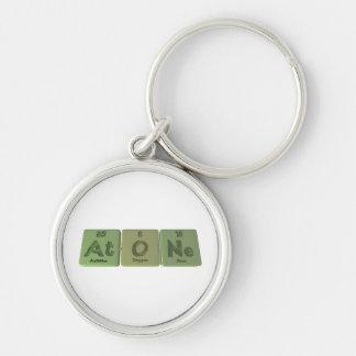 Atone-At-O-Ne-Astatine-Oxygen-Neon Silver-Colored Round Keychain
