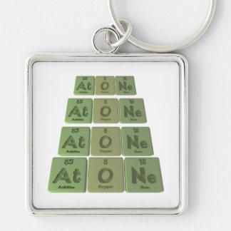 Atone-At-O-Ne-Astatine-Oxygen-Neon Silver-Colored Square Keychain