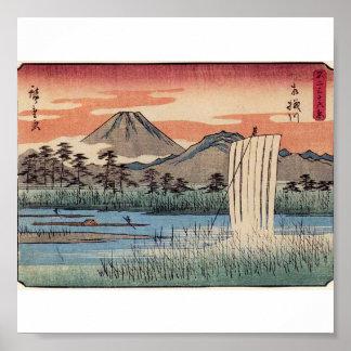 Atontamiento el monte Fuji en Japón circa 1800s Póster