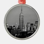 ¡Atontamiento! Empire State Building New York City Adorno Redondo Plateado