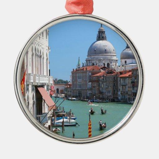 ¡Atontamiento! Gran Canal Venecia Adorno Redondo Plateado