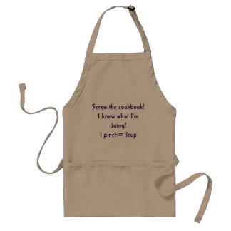 atornille el delantal satírico del libro de cocina