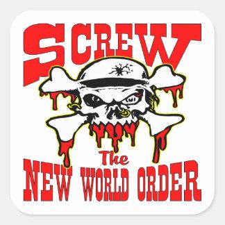 Atornille el nuevo cráneo del orden mundial pegatina cuadradas personalizadas