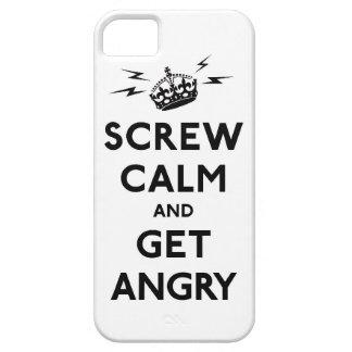 Atornille la calma y consiga enojado guardan calma iPhone 5 carcasa