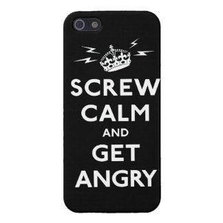 Atornille la calma y consiga enojado guardan calma iPhone 5 funda