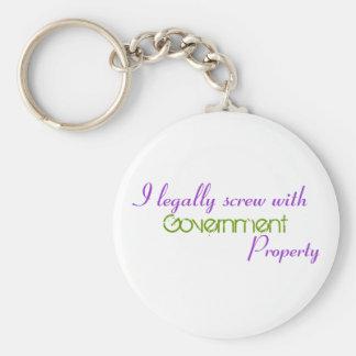 Atornillo legalmente con, gobierno, propiedad llavero redondo tipo pin