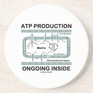 ATP Production Ongoing Inside (Mitochondrion) Beverage Coasters