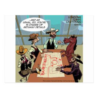 Atracador de bancos divertido del caballo tarjetas postales