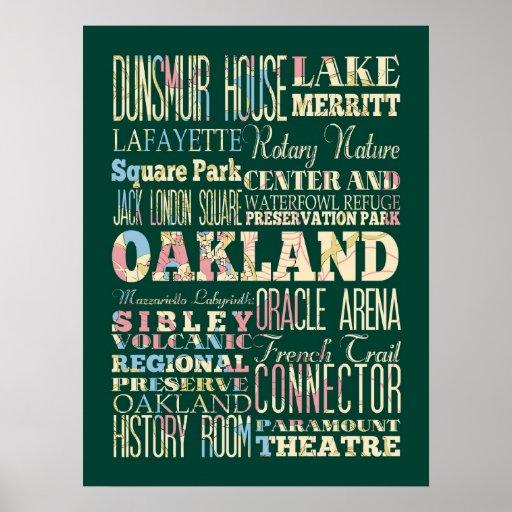 Atracción y lugares famosos de Oakland, California Póster