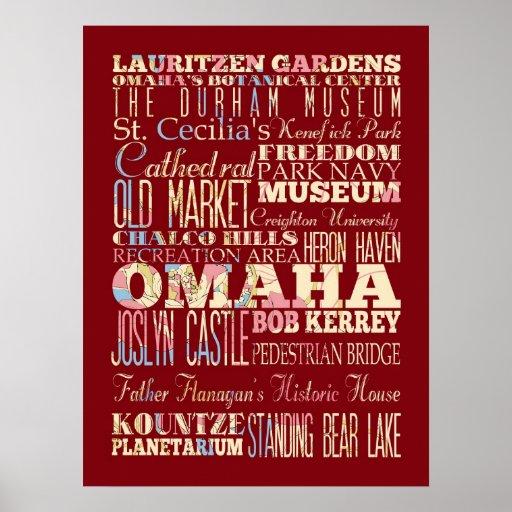 Atracción y lugares famosos de Omaha, Nebraska Póster