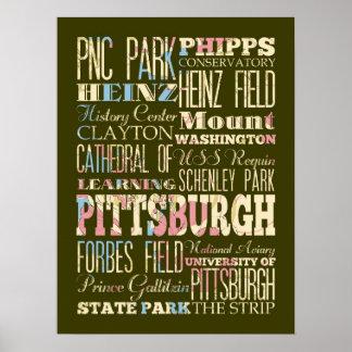 Atracción y lugares famosos de Pittsburgh, PA Posters