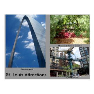 Atracciones de St. Louis Tarjetas Postales