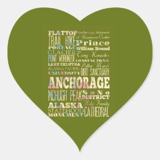 Atracciones y lugares famosos de Anchorage, Alaska Pegatina En Forma De Corazón