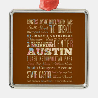 Atracciones y lugares famosos de Austin, Tejas Adorno Navideño Cuadrado De Metal
