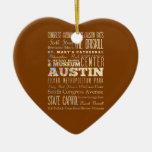 Atracciones y lugares famosos de Austin, Tejas Adorno Navideño De Cerámica En Forma De Corazón