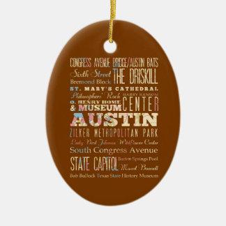 Atracciones y lugares famosos de Austin, Tejas Adorno Navideño Ovalado De Cerámica