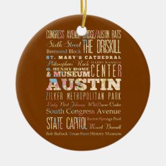 Atracciones y lugares famosos de Austin, Tejas Adorno Navideño Redondo De Cerámica