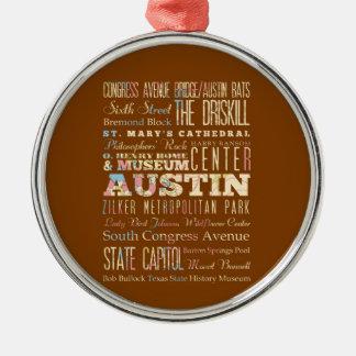 Atracciones y lugares famosos de Austin, Tejas Adorno Navideño Redondo De Metal
