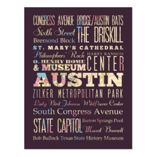 Atracciones y lugares famosos de Austin, Tejas Postales