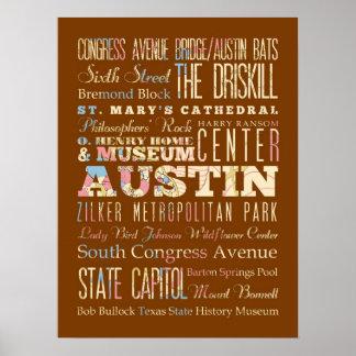 Atracciones y lugares famosos de Austin, Tejas Póster