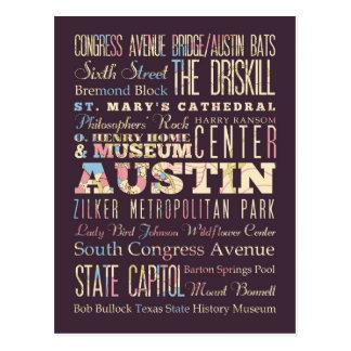 Atracciones y lugares famosos de Austin, Tejas Tarjeta Postal