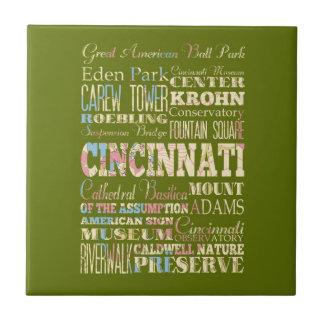 Atracciones y lugares famosos de Cincinnati, Ohio Azulejo Cuadrado Pequeño