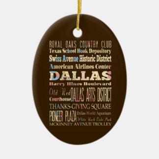 Atracciones y lugares famosos de Dallas, Tejas Adorno Navideño Ovalado De Cerámica